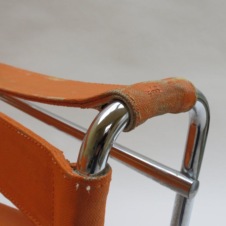 20th Century 1960s B3 Wassily Chair in Orange Canvas by Marcel Breuer for Gavina, Bauhaus A