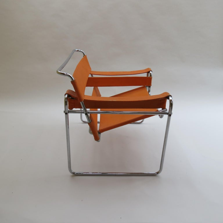 1960s B3 Wassily Chair in Orange Canvas by Marcel Breuer for Gavina, Bauhaus A 1