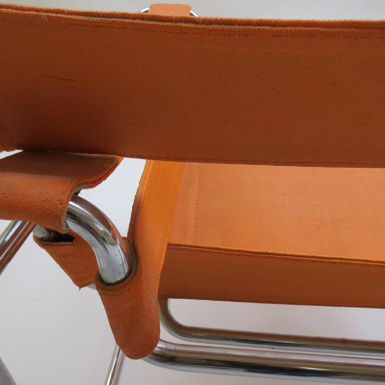 1960s B3 Wassily Chair in Orange Canvas by Marcel Breuer for Gavina, Bauhaus A 2