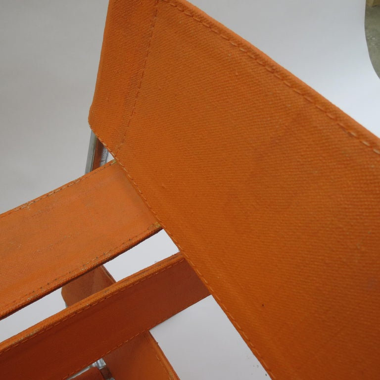 1960s B3 Wassily Chair in Orange Canvas by Marcel Breuer for Gavina, Bauhaus A 3