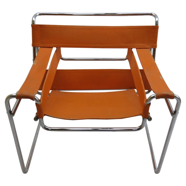 1960s B3 Wassily Chair in Orange Canvas by Marcel Breuer for Gavina, Bauhaus A