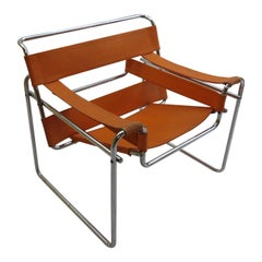 1960s B3 Wassily Chair in Orange Canvas by Marcel Breuer for Gavina Bauhaus B