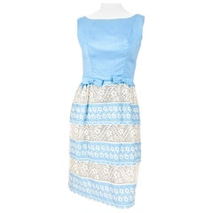 1960s Baby Blue Lace and Embroidered Sleeveless Dress