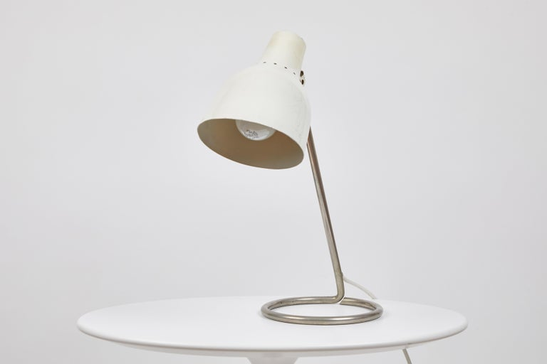 Swiss 1960s BAG Turgi White Table Lamp For Sale