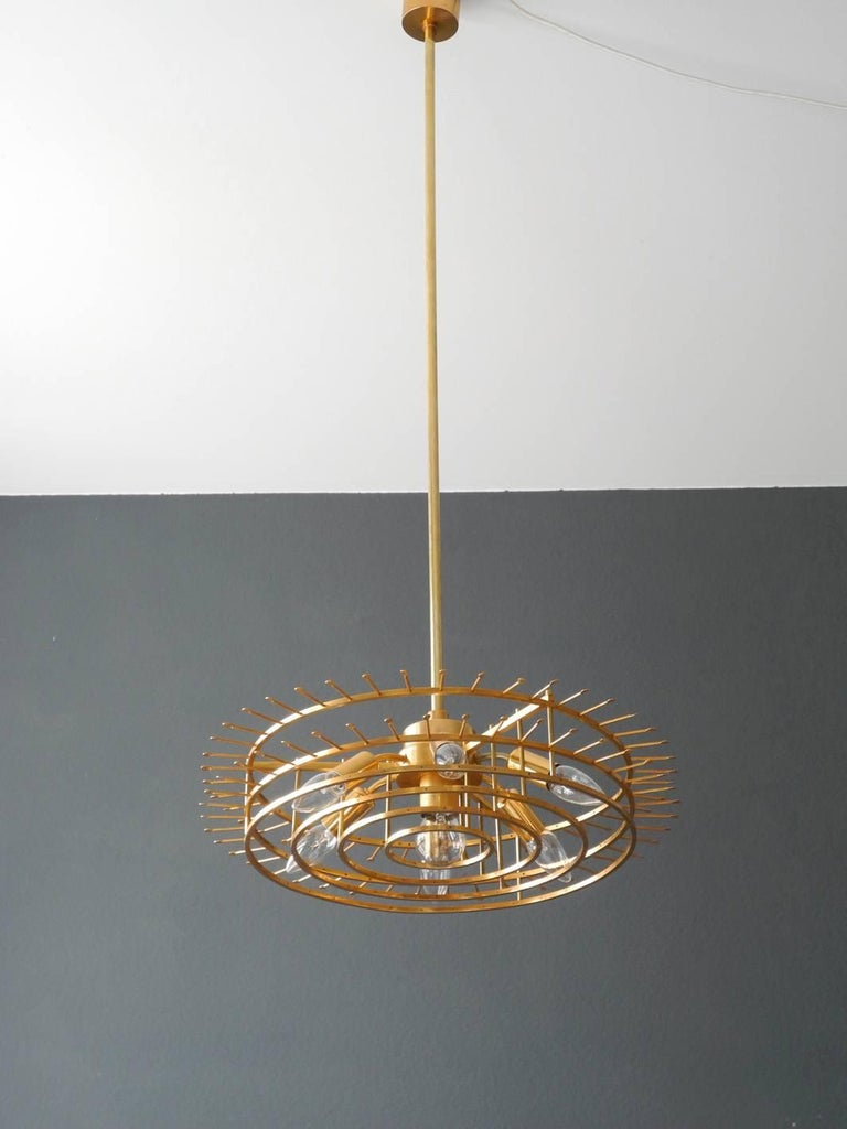 1960s Bakalowits Crystal Chandelier with Brass Frame For Sale 4