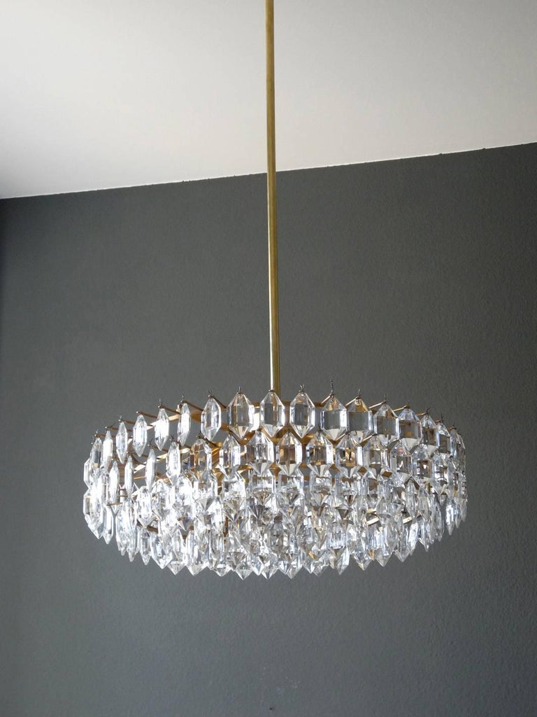 Mid-20th Century 1960s Bakalowits Crystal Chandelier with Brass Frame For Sale