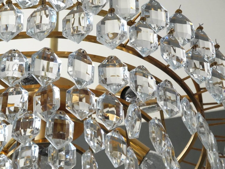 1960s Bakalowits Crystal Chandelier with Brass Frame For Sale 3