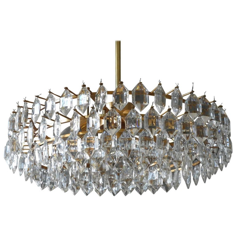 1960s Bakalowits Crystal Chandelier with Brass Frame For Sale