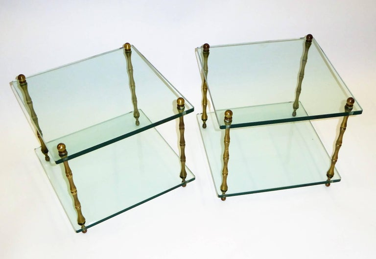 1960s Baker Brass and Glass Faux Bamboo Occasional Side Tables For Sale 3