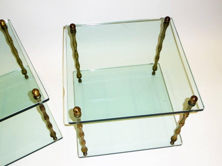 American 1960s Baker Brass and Glass Faux Bamboo Occasional Side Tables For Sale
