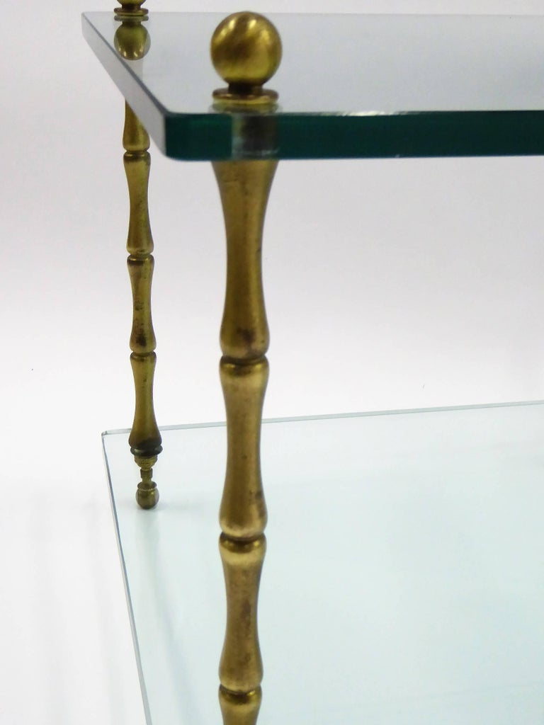 1960s Baker Brass and Glass Faux Bamboo Occasional Side Tables In Good Condition For Sale In Miami, FL