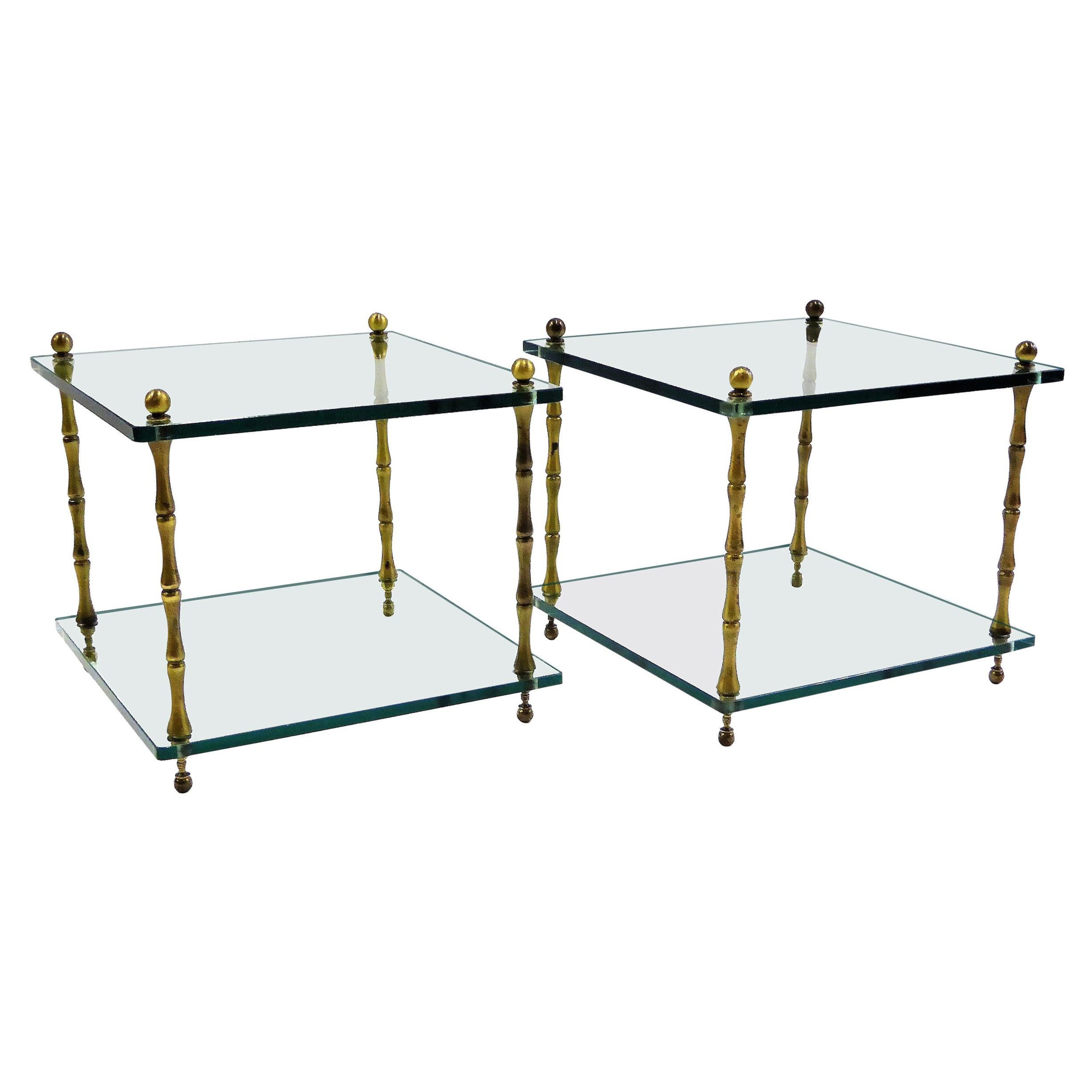 1960s Baker Brass and Glass Faux Bamboo Occasional Side Tables