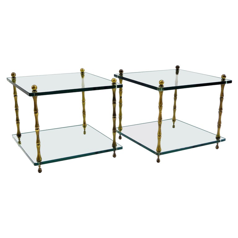 1960s Baker Brass and Glass Faux Bamboo Occasional Side Tables For Sale