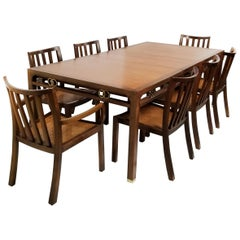 1960s Baker Far East Collection Dining Room Table and Chairs by Michael Taylor
