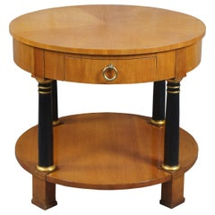 1960s Baker French Empire Round Fruitwood Neoclassical Gueridon Side Table