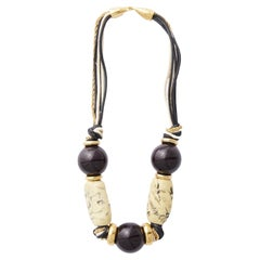 1960s Balenciaga Beaded Necklace in Brass, Leather and Resin
