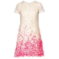 1960's Balenciaga Inspired Pink & White Mod Crystal Beaded Cocktail Dress