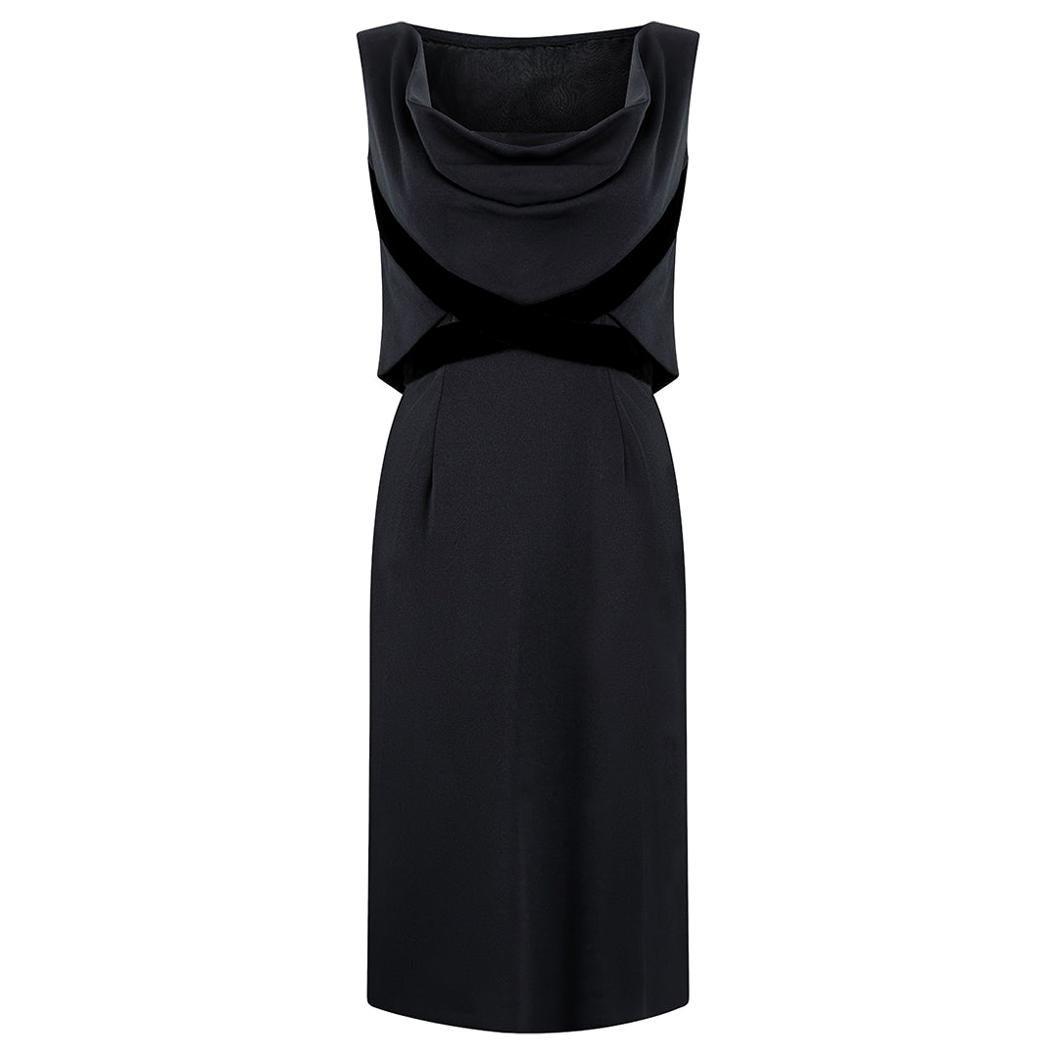 1960s Balmain Demi-Couture Black Jersey and Velvet Cocktail Dress