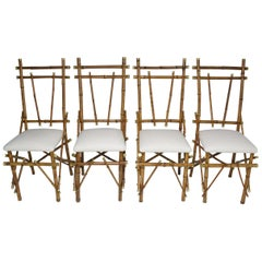 1960's Bamboo Brass Dining Chairs, Set of Four