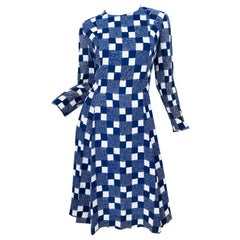 1960s Baron Peters Navy Blue + White Checkered Rayon Crepe Vintage 60s Dress