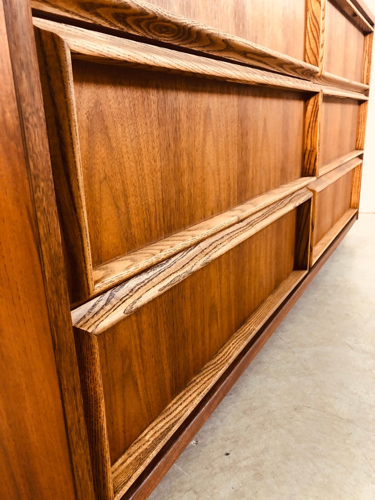 1960s Bassett Furniture Walnut Low Dresser For Sale 3