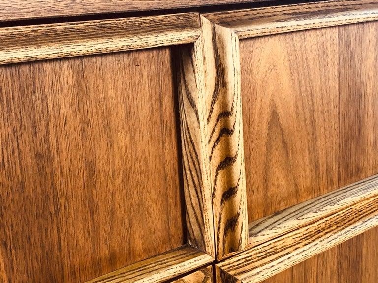 American 1960s Bassett Furniture Walnut Low Dresser For Sale