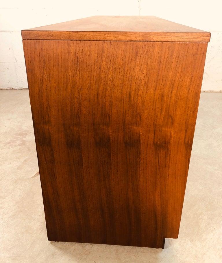 Ash 1960s Bassett Furniture Walnut Low Dresser For Sale