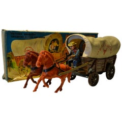 1960s Battery Operated Tin Wagon Master by Modern Toys, Japan