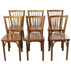 1960's Baumann French Bentwood Classic Bistro Dining Chair - Set Of Six