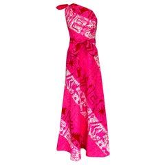 1960s B.Cohen One Shoulder Vibrant Pink Printed Barkcloth Hawaiian Dress