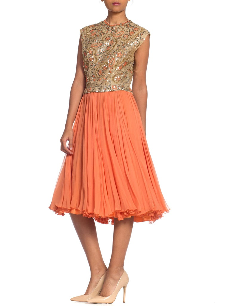 1960s Beaded Pat Sandler Silk Chiffon Tangerine Orange Dress For Sale 6