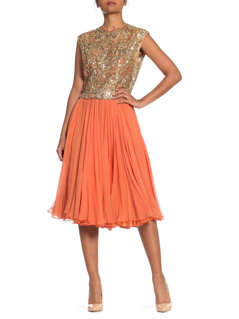 1960s Beaded Pat Sandler Silk Chiffon Tangerine Orange Dress For Sale 7
