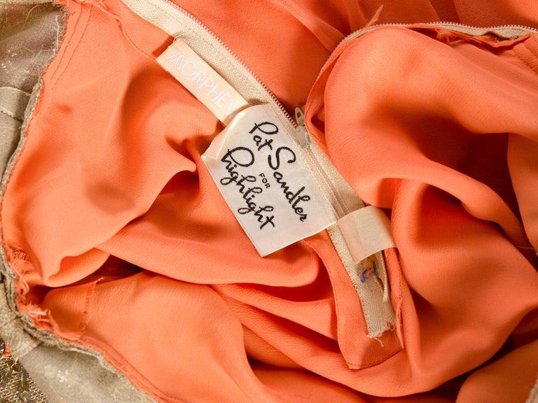 1960s Beaded Pat Sandler Silk Chiffon Tangerine Orange Dress For Sale 8