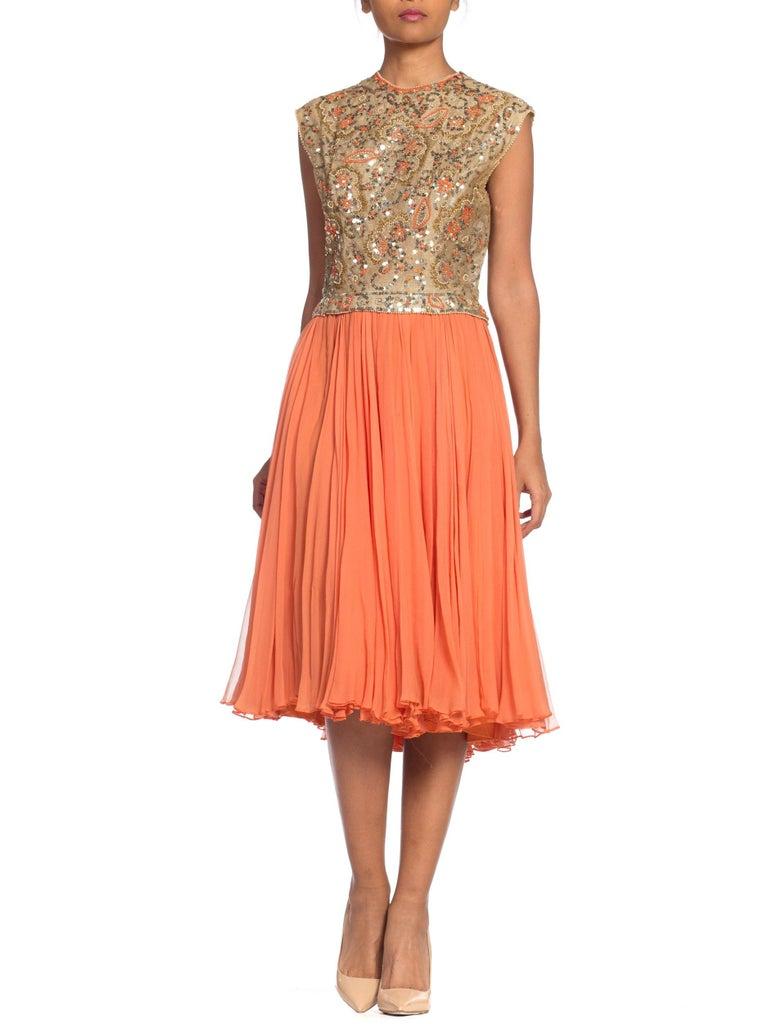 1960s Beaded Pat Sandler Silk Chiffon Tangerine Orange Dress For Sale 9