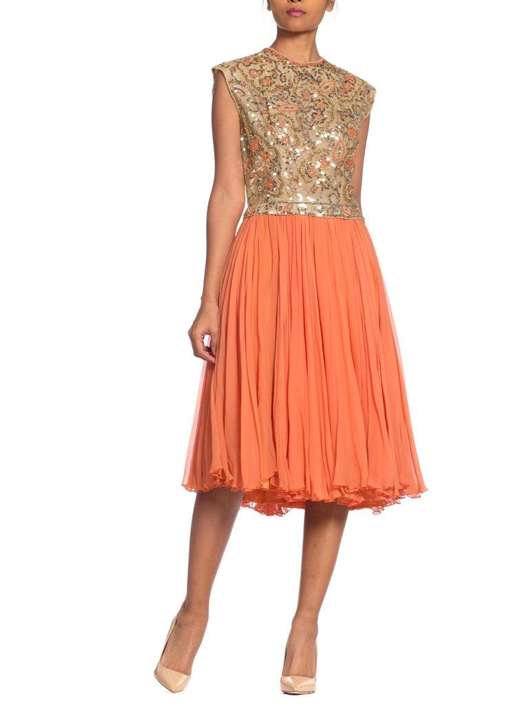 1960s Beaded Pat Sandler Silk Chiffon Tangerine Orange Dress For Sale 10