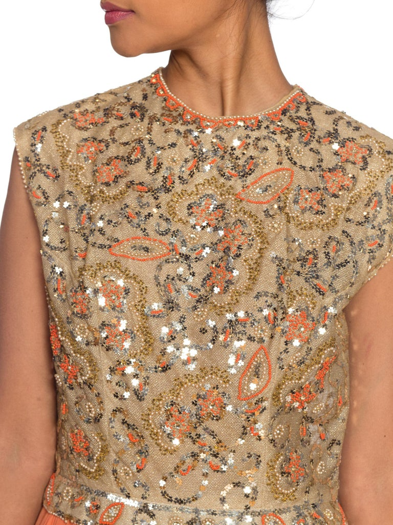 1960s Beaded Pat Sandler Silk Chiffon Tangerine Orange Dress In Excellent Condition For Sale In New York, NY
