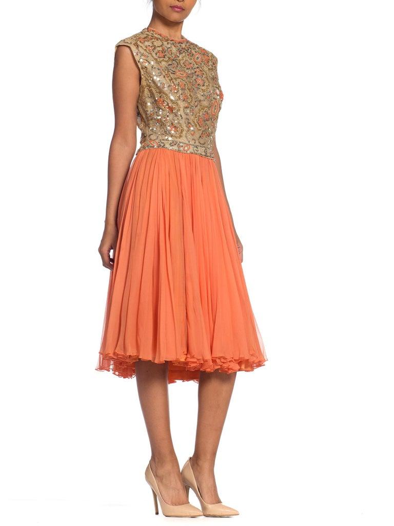 Women's 1960s Beaded Pat Sandler Silk Chiffon Tangerine Orange Dress For Sale