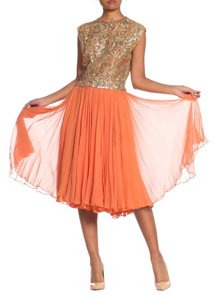 1960s Beaded Pat Sandler Silk Chiffon Tangerine Orange Dress For Sale 1