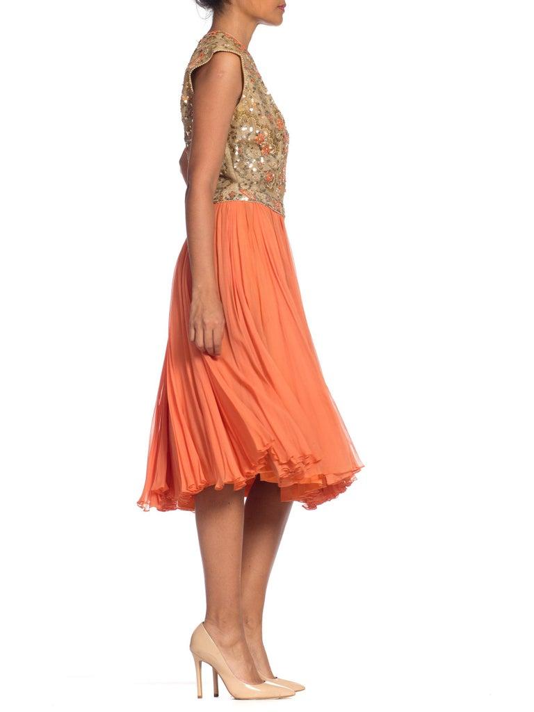 1960s Beaded Pat Sandler Silk Chiffon Tangerine Orange Dress For Sale 2