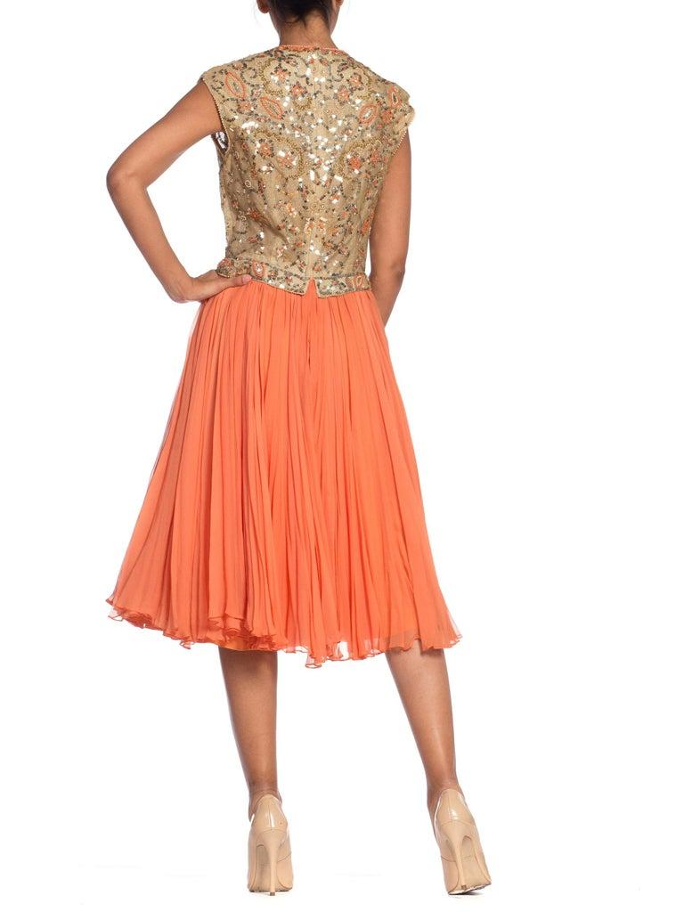 1960s Beaded Pat Sandler Silk Chiffon Tangerine Orange Dress For Sale 3