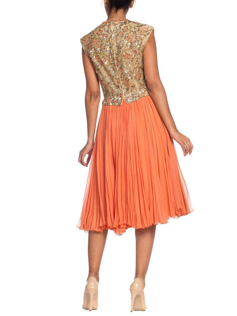 1960s Beaded Pat Sandler Silk Chiffon Tangerine Orange Dress For Sale 4