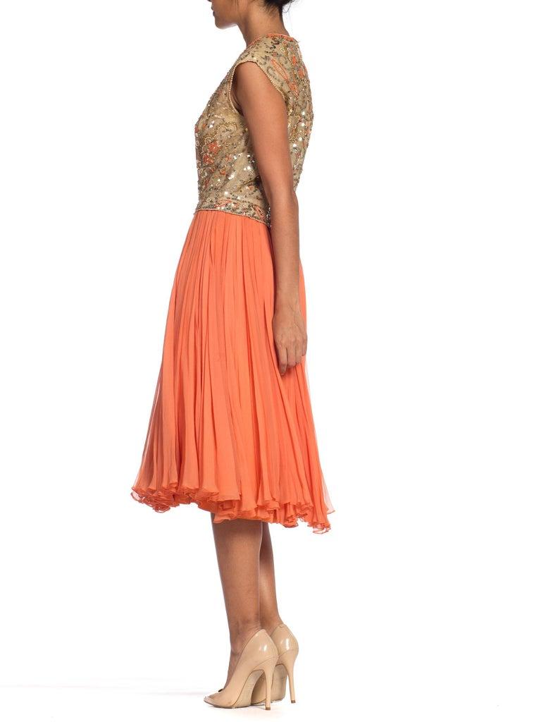 1960s Beaded Pat Sandler Silk Chiffon Tangerine Orange Dress For Sale 5