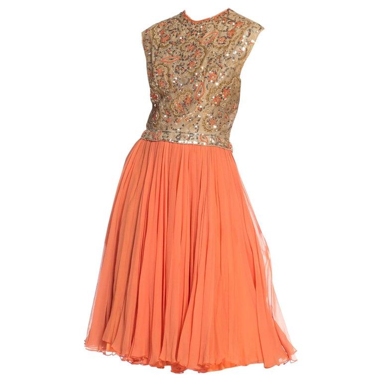1960s Beaded Pat Sandler Silk Chiffon Tangerine Orange Dress For Sale