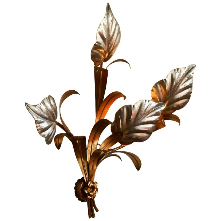 1960s, Beautiful Large Floral Italian Wall Light For Sale