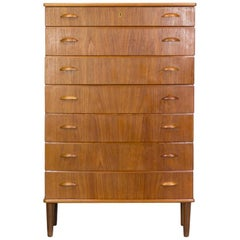 1960s Beautiful Teak Veneer Seven Drawer Cabinet