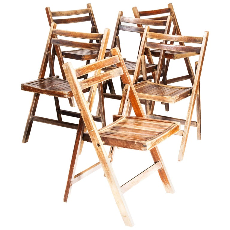 1960s Beech Folding Chairs, Dining, Outdoor, Walnut Stain, Set of Six For Sale