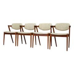 1960s Beige Kai Kristiansen Teak Chairs Vintage Classic