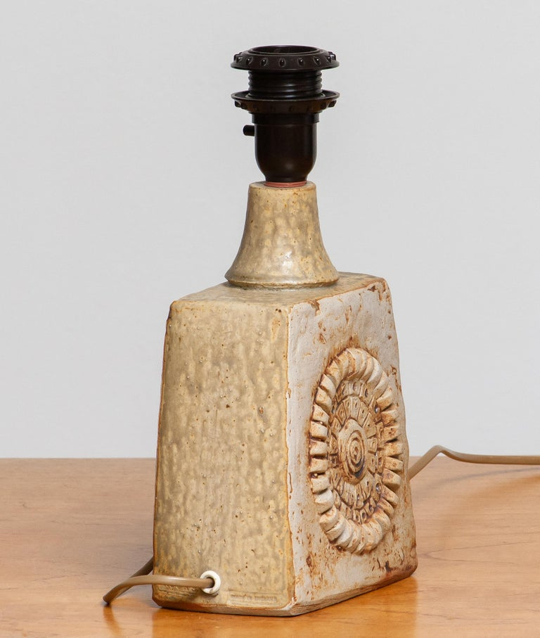 Mid-20th Century 1960s, Beige Brutalist Terracotta Pottery Table Lamp by Bernard Rooke, England For Sale