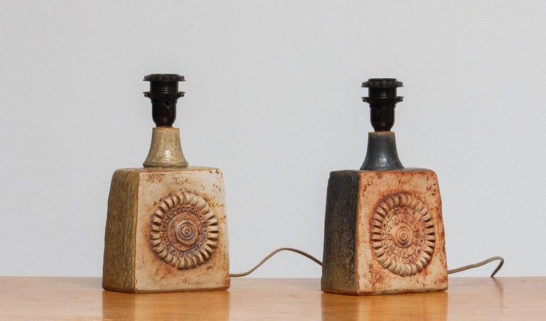 1960s, Beige Brutalist Terracotta Pottery Table Lamp by Bernard Rooke, England For Sale 1