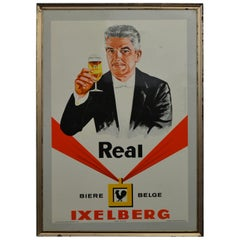 1960s Belgian Beer Sign, Tin Framed Glacoide Sign on Cardboard, Cheers